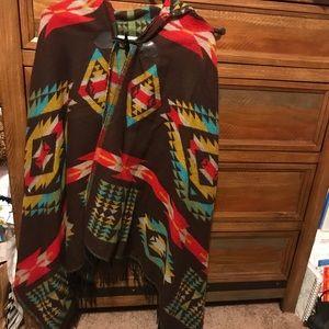 Jackets & Blazers - Hooded Aztec Poncho